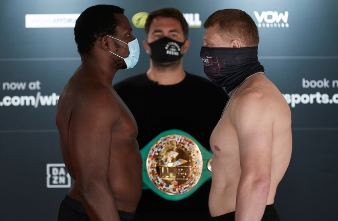 Whyte shared an intense final face-off with Povetkin Photo Credit: Mark Robinson/Matchroom Boxing