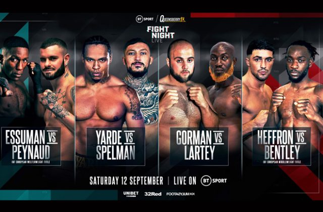 Anthony Yarde clashes with Dec Spelman on September 12 on BT Sport Photo Credit: Queensberry Promotions