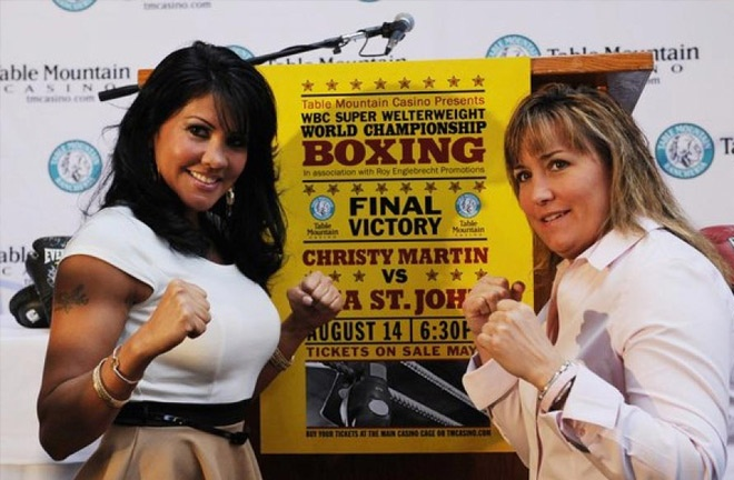 Mia St John and Christy Martin face to face during the promotion of their fight. Photo Credit: Fight Saga
