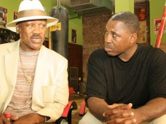 Smoking' Joe Frazier and 'Little Smioke' Marvis Frazier. Photo Credit: Riverhorse.tv