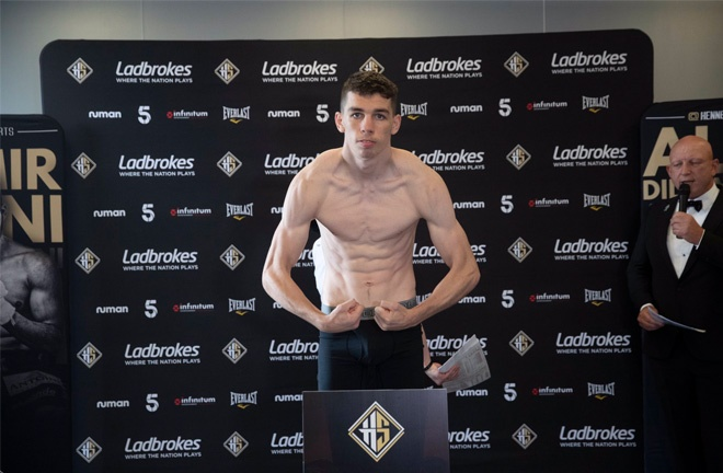 Stevie McKenna weighed in ahead of his first professional bout in England. Photo Credit: Hennessy Sports