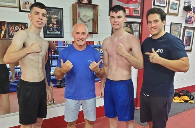 Stevie McKenna, Barry McGuigan, Aaron McKenna and Shane McGuigan [left to right] Photo Credit: Twitter @stevie_mckenna