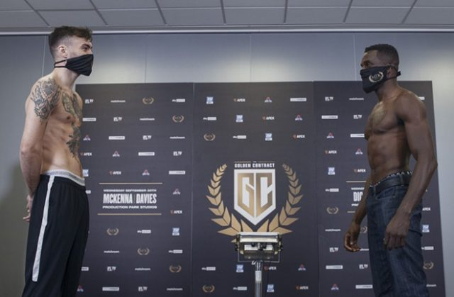 Ohara Davies and Tyrone McKenna shared a final face-off after weighing in ahead of their grudge MTK Golden Contract final Photo Credit: Scott Rawsthorne / MTK Global