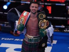 Josh Taylor eased past Apinun Khongsong in a round to retain his IBF and WBA Super-Lightweight world titles at York Hall Photo Credit: Queensberry Promotions