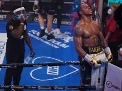 Anthony Yarde celebrates after stopping Dec Spelman at York Hall on Saturday Photo Credit: Round 'N' Bout Media / Queensberry Promotions
