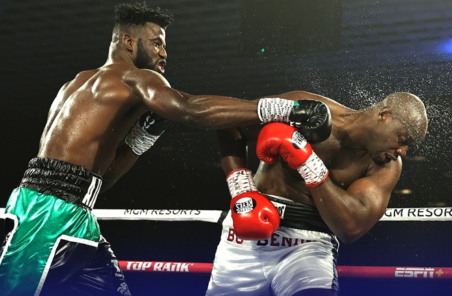 Heavyweight talent Efe Ajagba laboured past Jonathan Rice to remain undefeated Photo Credit: Mikey Williams / Top Rank