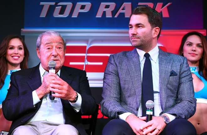 Top Rank CEO Bob Arum and Matchroom boss Eddie Hearn have TV deals with ESPN and DAZN respectively Photo Credit: Boxing Scene