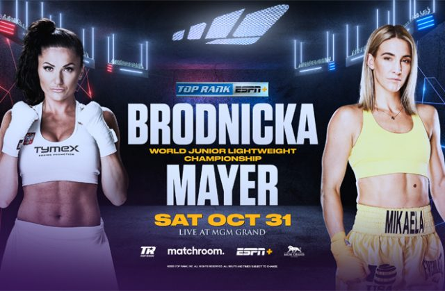WBO Super Featherweight ruler Ewa Brodnicka clashes with Mikaela Mayer on October 31 in Las Vegas Photo Credit: Top Rank