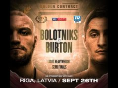 Hosea Burton heads to Riga to face Ricards Bolotniks in the Golden Contract semi-finals Photo Credit: MTK Global