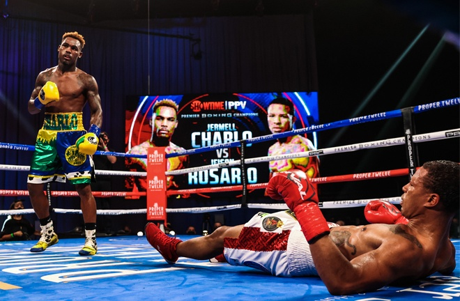 Jermell Charlo was in imperious form to knock down and stop Jeison Rosairo becoming unified champion Photo Credit: Amanda Westcott / Showtime