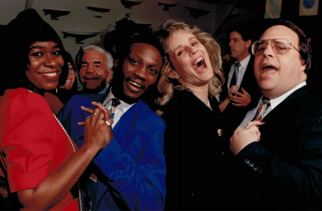 Kathy and late husband Danny, alongside Pernell Whitaker and his spouse Photo Credit: Main Events