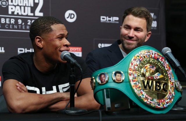 Devin Haney is set to defend his WBC Lightweight title against either Gary Russell Jr or Yuriorkis Gamboa in November, Eddie Hearn has confirmed Photo Credit: Matchroom Boxing