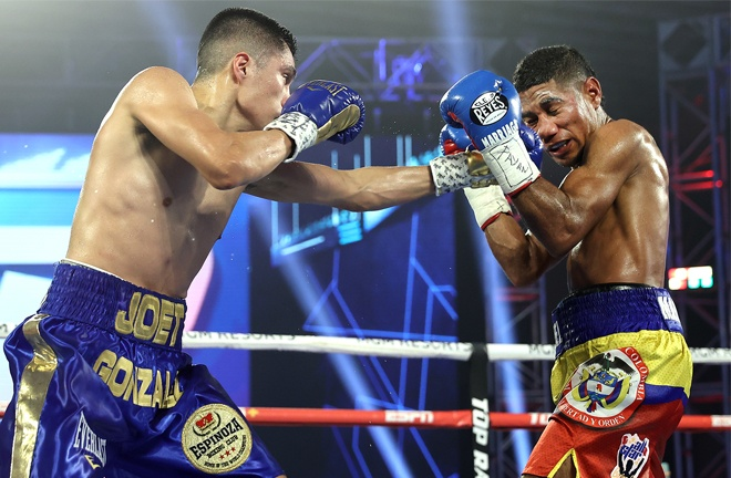 Joet Gonzalez bounced back from defeat to Shakur Stevenson with victory over former three-time world title challenger Miguel Marriaga Photo Credit: Mikey Williams / Top Rank