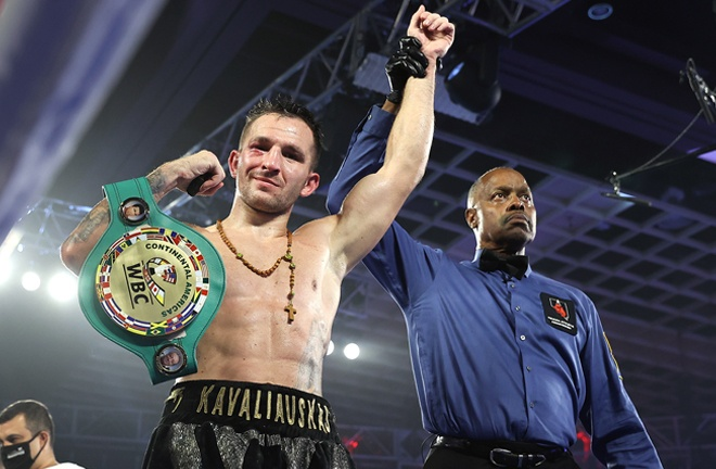 Kavaliauskas claimed the WBC Continental Americas Welterweight title Photo Credit: Mikey Williams / Top Rank