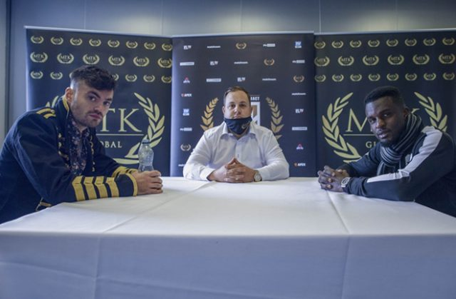 Tyrone McKenna clashes with arch-rival Ohara Davies in the Golden Contract final on Wednesday Photo Credit: Scott Rawsthorne / MTK Global