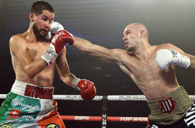 Two-weight world champion Jose Pedraza dominated Javier Molina on route to a points win in Las Vegas Photo Credit: Mikey Williams / Top Rank