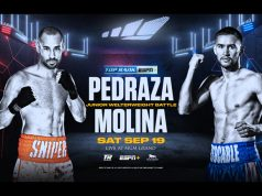 Jose Pedraza takes on Javier Molina inside The Bubble on Saturday Photo Credit: Top Rank