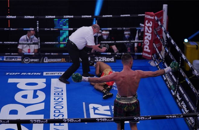 Khongsong was left in a heap on the canvas after taking a Taylor left hook flush Photo Credit: Queensberry Promotions