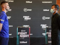 Josh Taylor came face-to-face with Apinun Khongsong at a press conference on Thursday ahead of their showdown Photo Credit: Queensberry Promotions