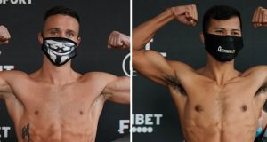 Josh Taylor and Apinun Khongsong weighed in ahead of their world title fight in London on Saturday Photo Credit: Queensberry Promotions