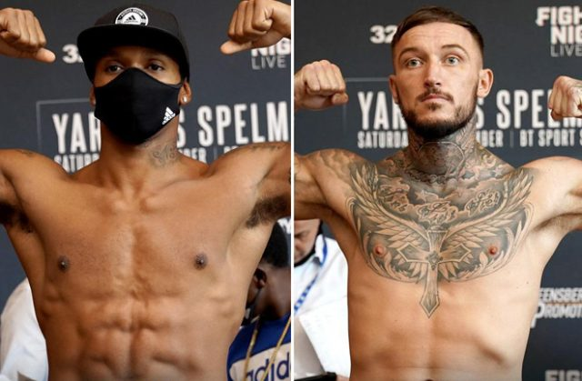 Anthony Yarde and Dec Spelman weighed in ahead of their clash on Saturday night Photo Credit: Queensberry Promotions