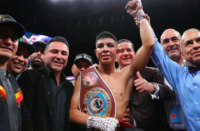 WBO Inter-Continental Middleweight Champion Jaime Munguia (36-0, 29 KOs), after defeating Tureano Johnson (21-3-1, 15 KOs) last night with a 6th round stoppage win.