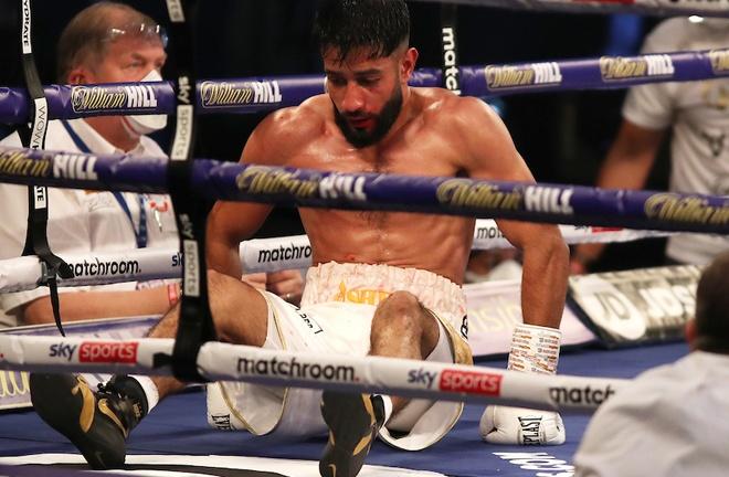 Ashfaq was floored twice by Leach Photo Credit: Mark Robinson/Matchroom Boxing