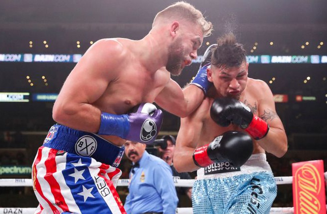 Saunders knocked down Coceres three times to defend his title last November Photo Credit: Ed Mulholland/Matchroom Boxing