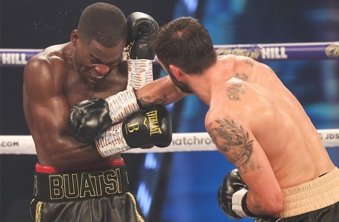 Buatsi was buzzed early on as Calic put the pressure on Photo Credit: Mark Robinson / Matchroom Boxing