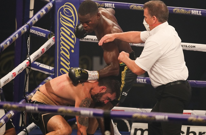 Buatsi rallied back to knock down and stop the tough Croat Photo Credit: Mark Robinson / Matchroom Boxing