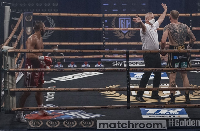 Serge Michel was too strong for Liam Conroy and advanced into the Light Heavyweight Golden Contract final Photo Credit: Scott Rawsthorne / MTK Global