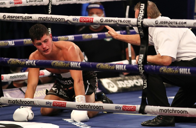 Joe Laws was knocked down three times in a shock first defeat to Rylan Charlton Photo Credit: Mark Robinson/Matchroom Boxing