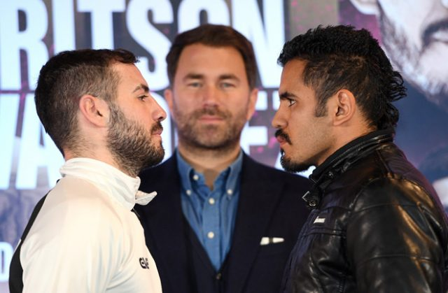 Lewis Ritson clashes with Miguel Vazquez behind closed doors in Peterborough on Saturday Photo Credit: Mark Robinson / Matchroom Boxing
