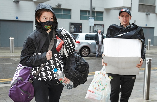 Amy Timlin arrived in Wembley alongside coach Kieran Farrell for her Commonwealth title battle Photo Credit: Mark Robinson/Matchroom Boxing