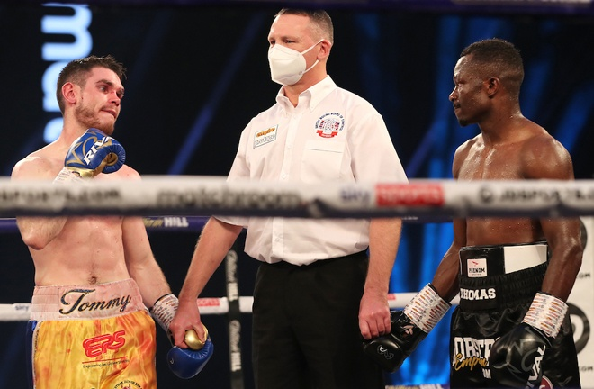 Ward and Essomba were held to a technical split draw after the referee halted the fight following the head clash Photo Credit: Mark Robinson/Matchroom Boxing