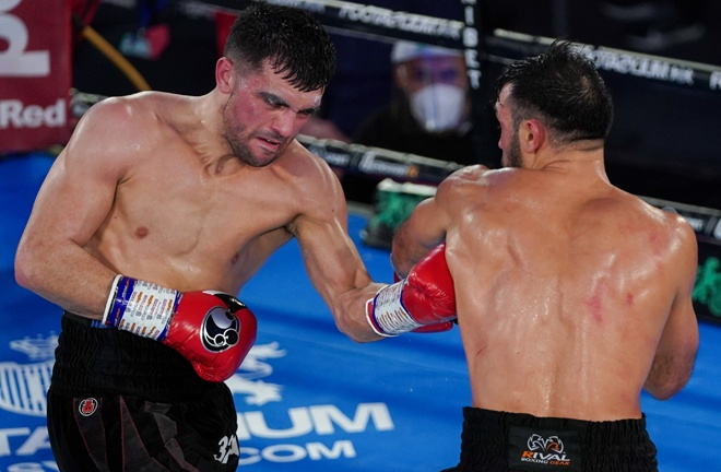 Jack Catterall landed two knockdowns on route to a decision win over Abderrazak Houya Photo Credit: Round 'N' Bout Media/Queensberry Promotions