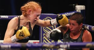 Rachel Ball overcame late replacement Jorgelina Guanini to claim the vacant interim WBC Super Bantamweight title Photo Credit: Mark Robinson/Matchroom Boxing