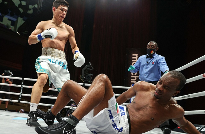 Daniyar Yeleussinov knocked out former world champion Julius Indongo in two rounds Photo Credit: Ed Mulholland/Matchroom Boxing