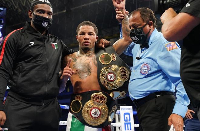 Tank claimed back his WBA Super Featherweight belt, adding it to his WBA Lightweight title Photo Credit: Sean Michael Ham/Mayweather Promotions