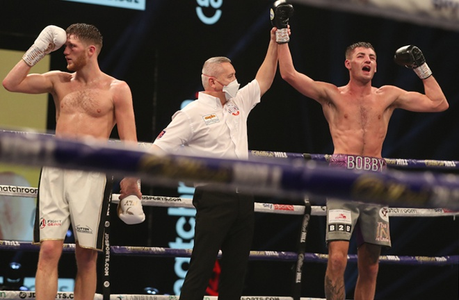 Cullen celebrates after climbing off the canvas to beat Docherty on points Photo Credit: Mark Robinson/Matchroom Boxing