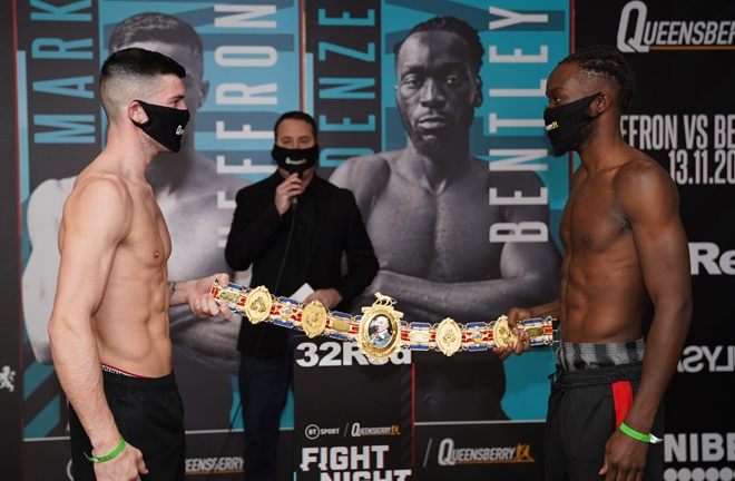 Mark Heffron and Denzel Bentley squared off ahead of their British Middleweight title clash on Friday Photo Credit: Queensberry Promotions