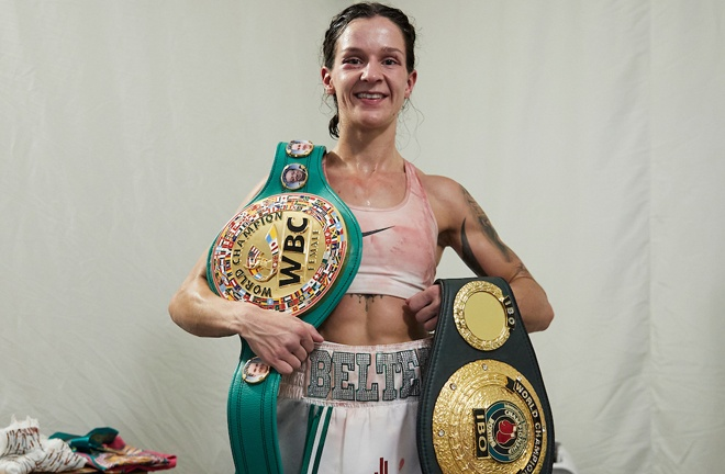 Mayer is targeting a unification with WBC Super Featherweight champion Terri Harper Photo Credit: Mark Robinson/Matchroom Boxing