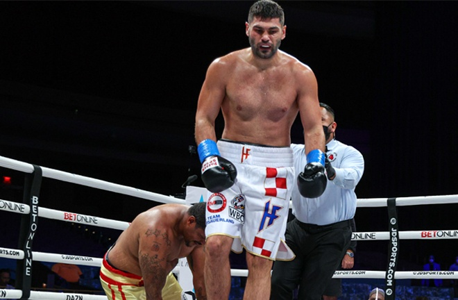 Filip Hrgovic saw off Rydell Booker in five rounds on Saturday Photo Credit: Ed Mulholland/Matchroom Boxing