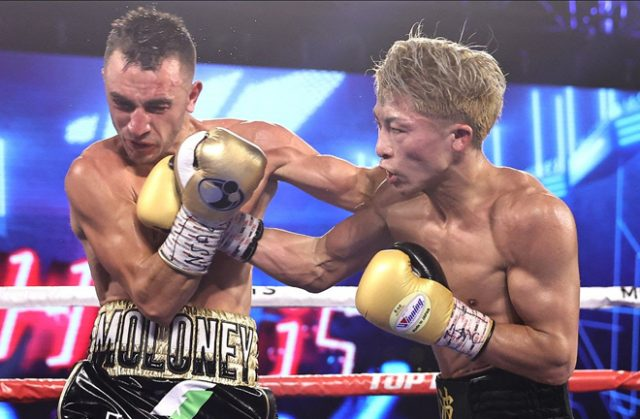 Naoya Inoue retained his unified Bantamweight world titles with a seventh round KO of Jason Moloney in Las Vegas on Saturday Photo Credit: Mikey Williams/Top Rank