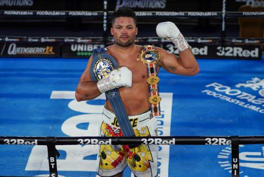 Joe Joyce was crowned British, Commonwealth and European heavyweight champion after a stunning tenth round stoppage win over Daniel Dubois in London on Saturday Photo Credit: Round 'N' Bout Media/Queensberry Promotions