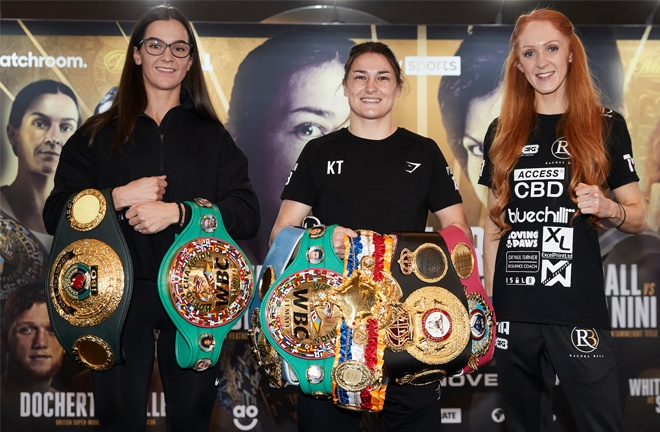 Katie Taylor alongside WBC Super Featherweight champion Terri Harper (L) & Rachel Ball (R) Photo Credit: Mark Robinson/Matchroom Boxing