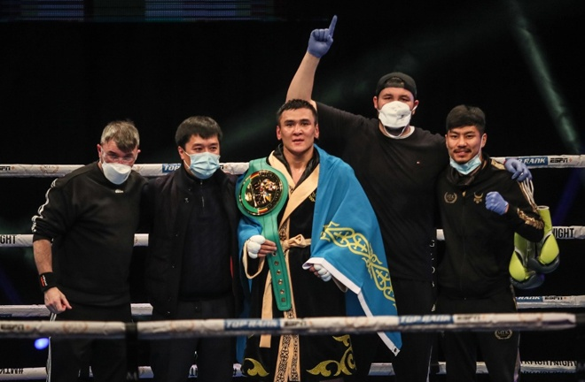The Kazakh was crowned WBC international super welterweight champion in just his second bout Photo Credit: Scott Rawsthorne/MTK Global