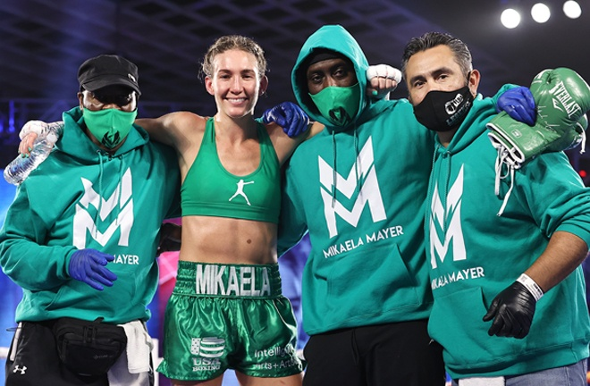 Mikaela Mayer was crowned WBO Super Featherweight world champion Photo Credit: Mikey Williams/Top Rank