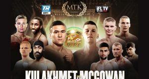 Tursynbay Kulakhmet meets Macaulay McGowan on the latest MTK Fight Night in Wakefield on Wednesday