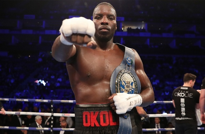 Okolie defeated Yves Ngabu to become European champion last October Photo credit: Mark Robinson / Matchroom Boxing